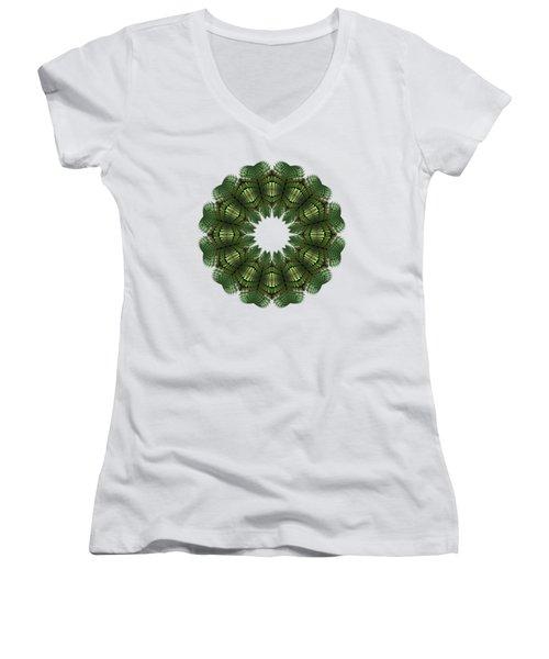 Fractal Wreath-32 Spring Green T-shirt Women's V-Neck