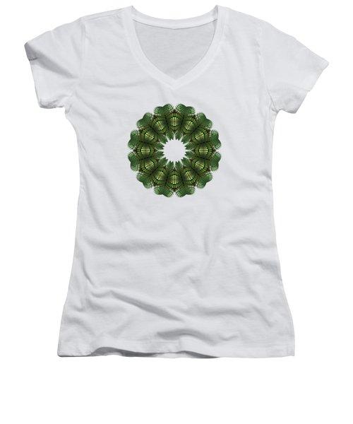 Fractal Wreath-32 Spring Green T-shirt Women's V-Neck (Athletic Fit)