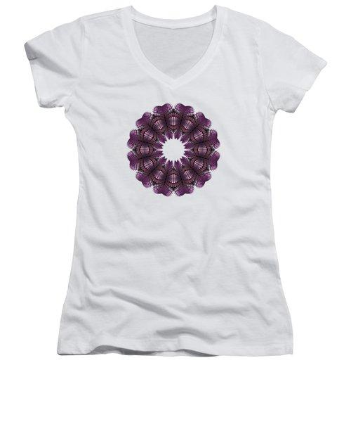 Fractal Wreath-32 Violet T-shirt Women's V-Neck (Athletic Fit)