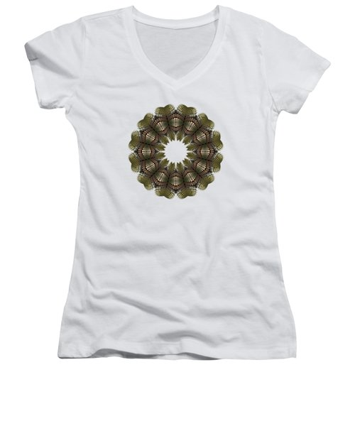 Fractal Wreath-32 Earth T-shirt Women's V-Neck