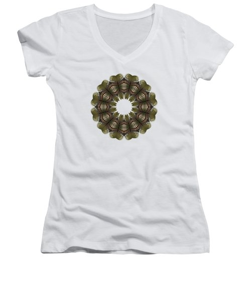 Fractal Wreath-32 Earth T-shirt Women's V-Neck (Athletic Fit)
