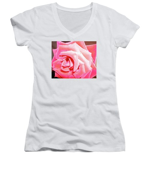 Women's V-Neck T-Shirt (Junior Cut) featuring the photograph Fragrant Rose by Marie Hicks