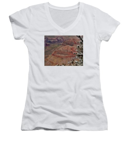 Women's V-Neck T-Shirt (Junior Cut) featuring the photograph Framed By A Snow Laden Tree by Debby Pueschel