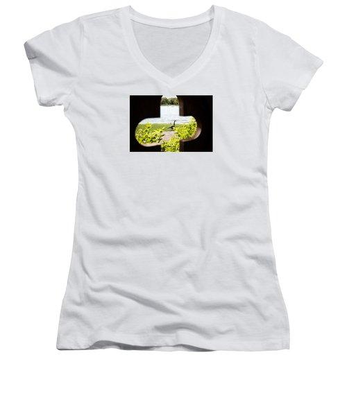 Framed Nature Women's V-Neck T-Shirt (Junior Cut) by Milena Ilieva