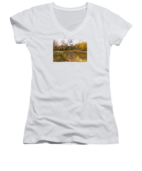 Women's V-Neck T-Shirt (Junior Cut) featuring the photograph Franconia Iron Works by Anthony Baatz