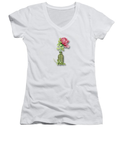 Frangrance In A Jar Women's V-Neck T-Shirt (Junior Cut) by Larry Bishop