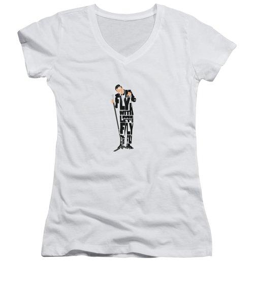 Frank Sinatra Typography Art Women's V-Neck (Athletic Fit)