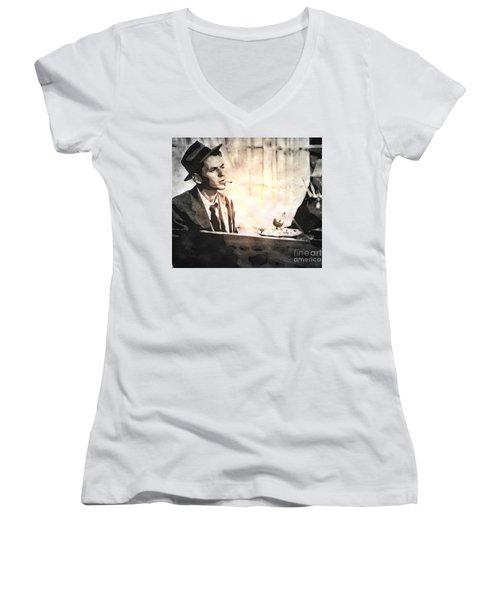 Frank Sinatra - Vintage Painting Women's V-Neck T-Shirt (Junior Cut) by Ian Gledhill