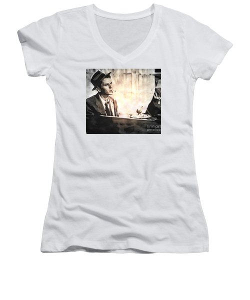 Frank Sinatra - Vintage Painting Women's V-Neck (Athletic Fit)