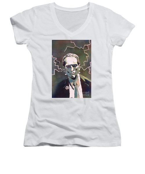 Women's V-Neck T-Shirt (Junior Cut) featuring the painting Frankencrory by Ryan Fox