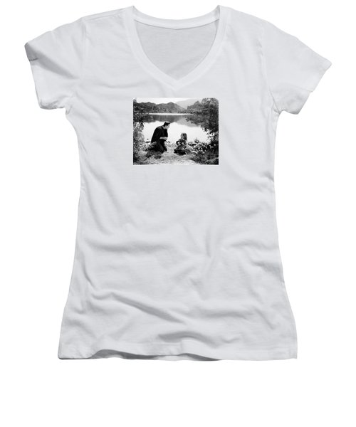 Frankenstein By The Lake With Little Girl Boris Karoff Women's V-Neck (Athletic Fit)
