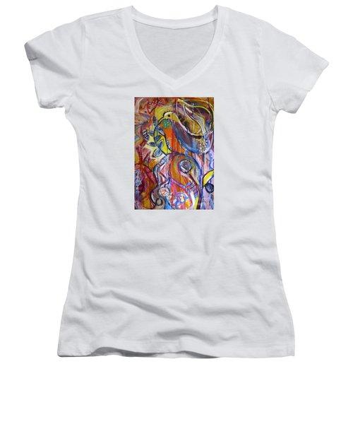 Free As A Bird  Women's V-Neck T-Shirt (Junior Cut) by Corina  Stupu Thomas