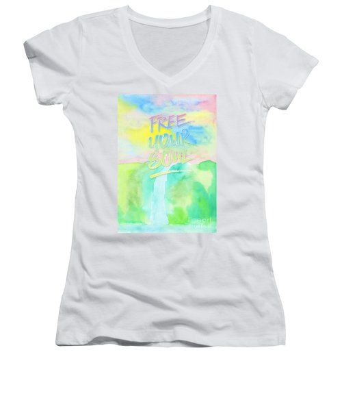 Free Your Soul Watercolor Colorful Spring Waterfall Painting Women's V-Neck (Athletic Fit)