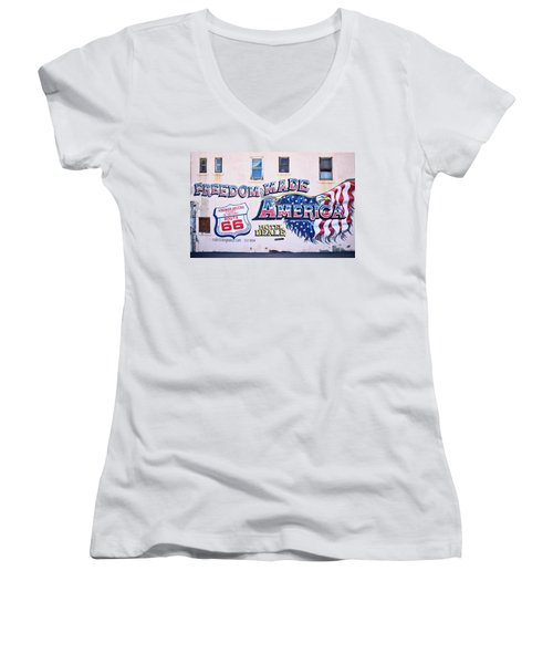 Freedom Made America - Mural Art On Route 66 Women's V-Neck