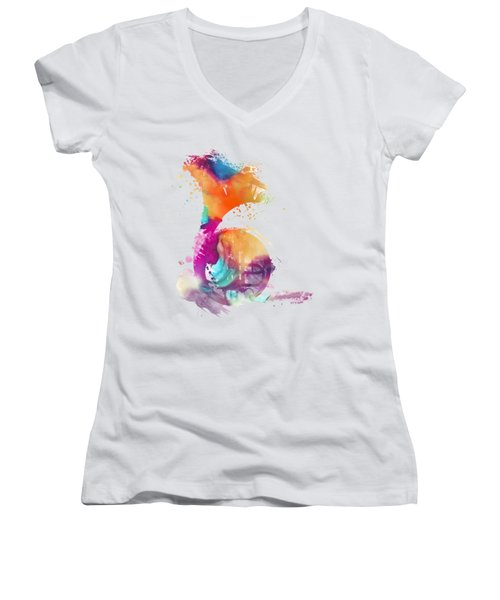 French Horn Watercolor Musical Instruments Women's V-Neck (Athletic Fit)