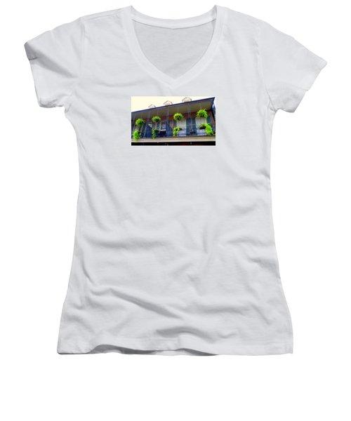 French Quarter Balcony Women's V-Neck T-Shirt
