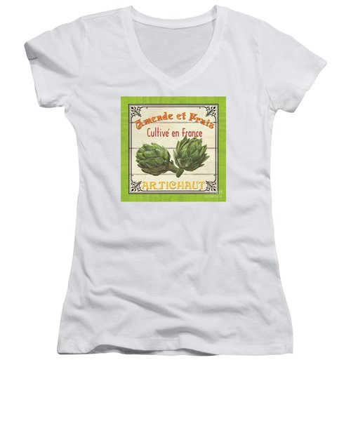 French Vegetable Sign 2 Women's V-Neck T-Shirt (Junior Cut) by Debbie DeWitt