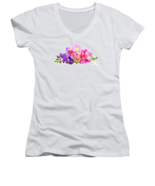 Fresh Pink And Violet Freesia Flowers Women's V-Neck (Athletic Fit)
