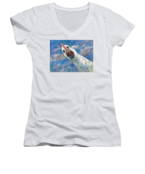 Fried What Women's V-Neck T-Shirt (Junior Cut) by Billie Colson