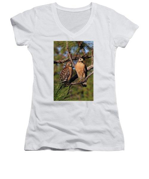Friendly Raptors Women's V-Neck T-Shirt