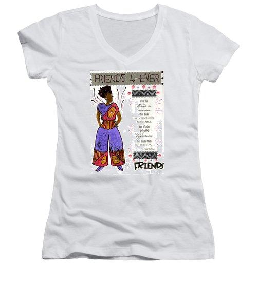 Women's V-Neck T-Shirt (Junior Cut) featuring the mixed media Friends 4ever by Angela L Walker