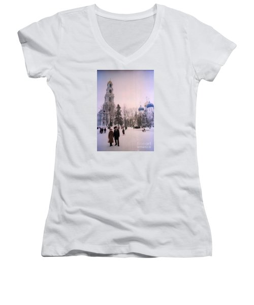 Friends In Front Of Church Women's V-Neck T-Shirt