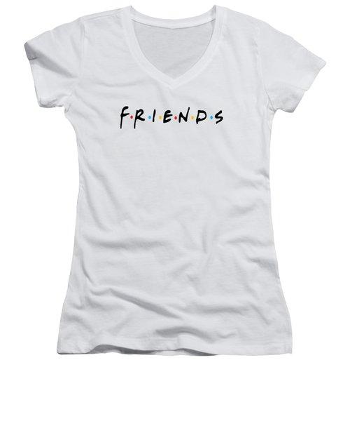 Women's V-Neck T-Shirt (Junior Cut) featuring the digital art Friends by Jaime Friedman