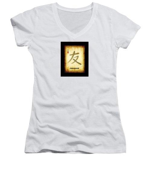 Friendship  Women's V-Neck T-Shirt (Junior Cut) by John Wills