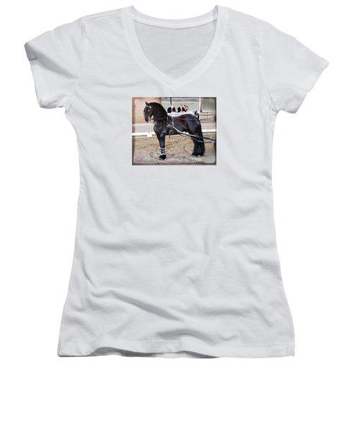 Friesian Stallion Under Harness Women's V-Neck