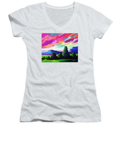 Women's V-Neck T-Shirt (Junior Cut) featuring the painting From A Distance by Anthony Mwangi