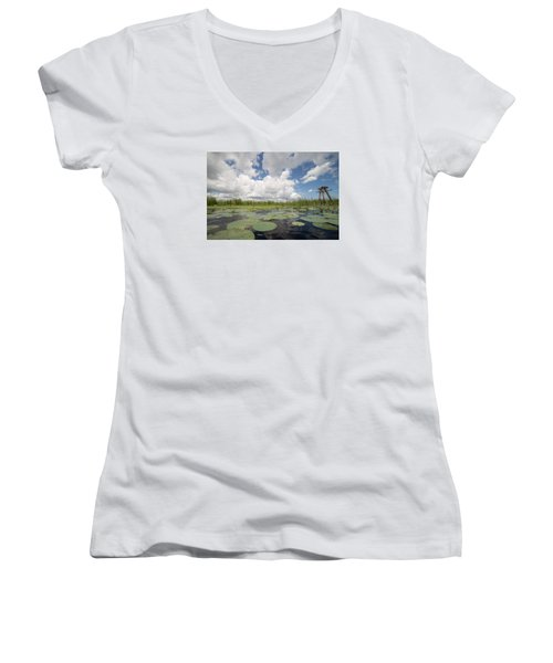 From A Frog's Point Of View - Lake Okeechobee Women's V-Neck T-Shirt (Junior Cut) by Christopher L Thomley