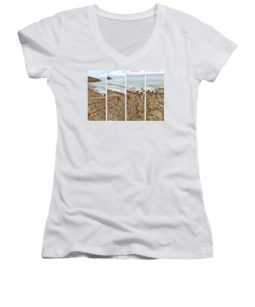 Women's V-Neck T-Shirt featuring the photograph From Ship To Shore by Stephen Mitchell