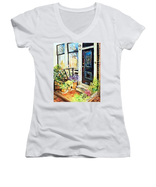 Women's V-Neck T-Shirt (Junior Cut) featuring the painting Front Porch by Linda Shackelford
