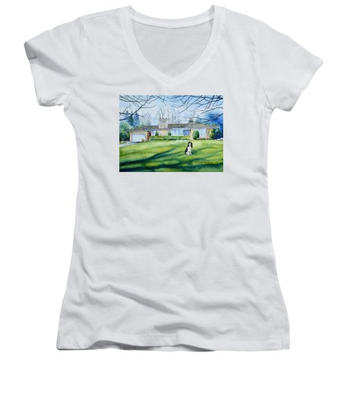 Women's V-Neck T-Shirt featuring the painting Front Yard Protection by Hanne Lore Koehler