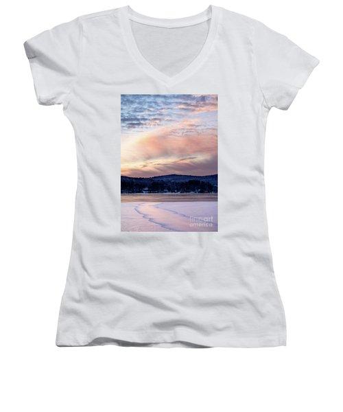 Frozen Lake Sunset In Wilton Maine  -78096-78097 Women's V-Neck