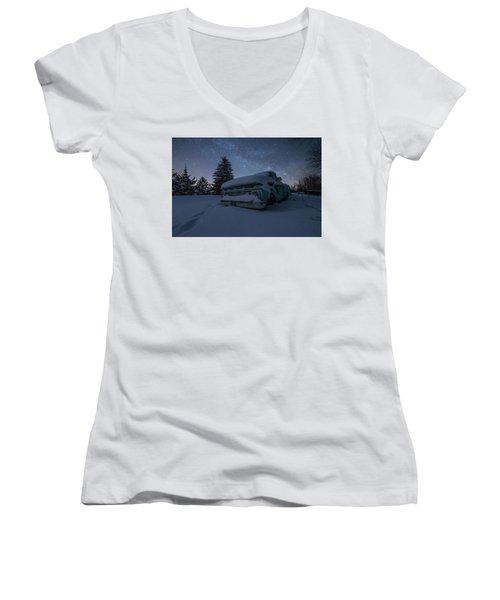 Women's V-Neck T-Shirt (Junior Cut) featuring the photograph Frozen Rust  by Aaron J Groen