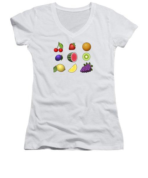 Fruits Collection Women's V-Neck T-Shirt (Junior Cut) by Miroslav Nemecek