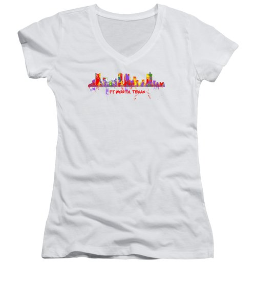 Ft Worth Tx Skyline Tshirts And Accessories Art Women's V-Neck T-Shirt