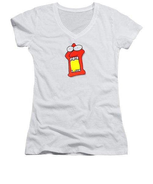 Fu Party People - Peep 104 Women's V-Neck T-Shirt (Junior Cut) by Dar Freeland