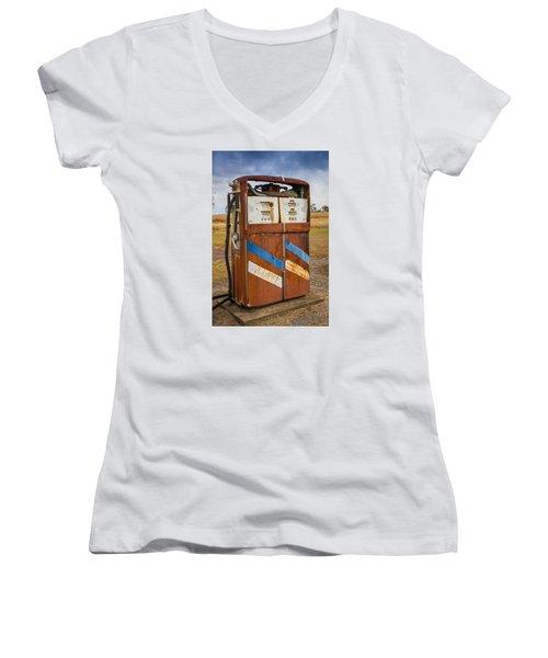 Fuel Pump Women's V-Neck T-Shirt (Junior Cut) by Keith Hawley