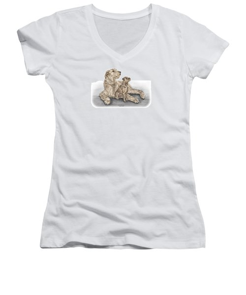 Full Of Promise - Irish Wolfhound Dog Print Color Tinted Women's V-Neck (Athletic Fit)