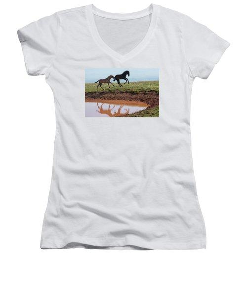 Fun In The Rockies- Wild Horse Foals Women's V-Neck