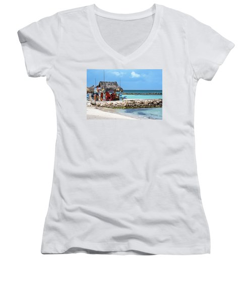 Fun In The Sun Women's V-Neck T-Shirt (Junior Cut) by Judy Wolinsky