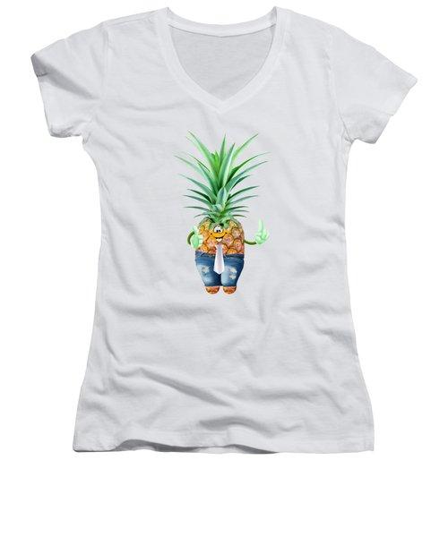 Fun Pineapple  Women's V-Neck T-Shirt (Junior Cut) by Elena Nikolaeva