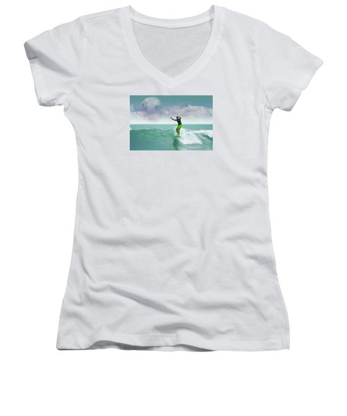 Funday Sunday Women's V-Neck T-Shirt (Junior Cut) by William Love