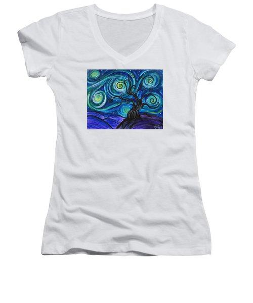 Funky Tree, Starry Night Women's V-Neck