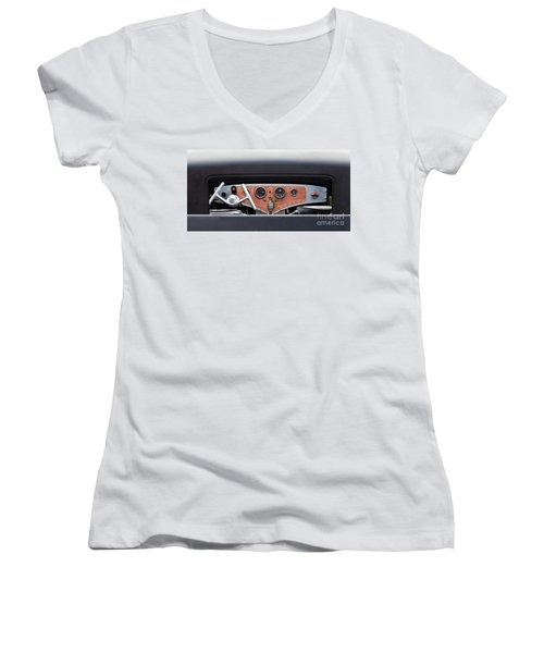 Women's V-Neck T-Shirt (Junior Cut) featuring the photograph Funny Car Dash by Chris Dutton