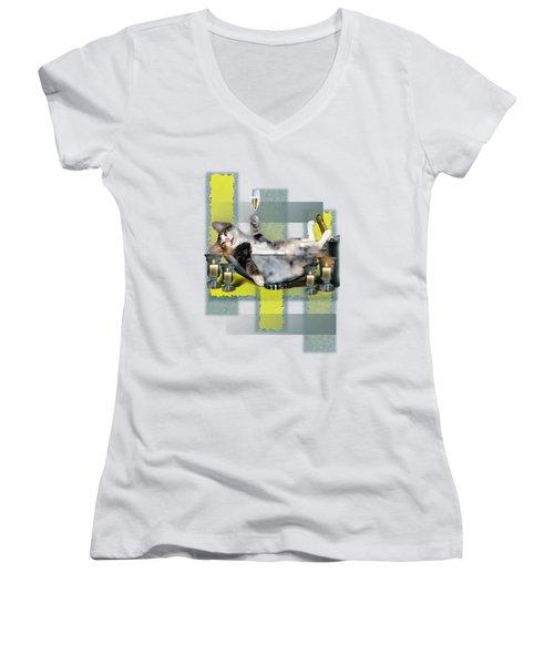 Funny Pet Print With A Tipsy Kitty  Women's V-Neck T-Shirt (Junior Cut) by Regina Femrite