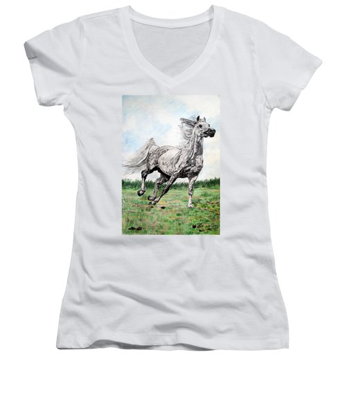 Women's V-Neck T-Shirt (Junior Cut) featuring the drawing Galloping Arab Horse by Melita Safran