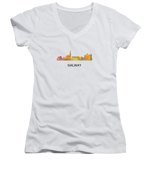 Galway Ireland Skyline Women's V-Neck (Athletic Fit)